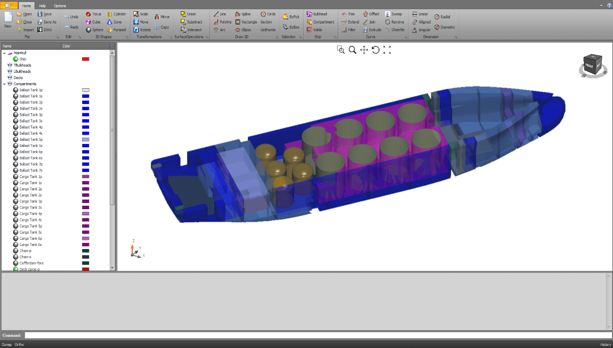 3D Ship and compartment modelling software